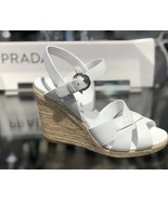 PRADA Espadrille Crisscross Platform Jute Wedge Sandal White Leather US ... - $186.12