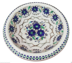 "7"" White Marble Dry Fruit Bowl Real Lapis Lazuli Inlay Floral Art Table Decor - $278.02"