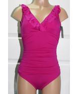 NEW Ralph Lauren Ruffle Underwired Slimming Shirred Swimsuit Deep Pink size 16 - $49.49