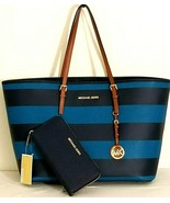 MICHAEL KORS JET SET TURQUOISE NAVY STRIPE LEATHER LG TOTE BAG+OR WALLET... - $94.99+