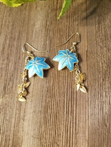 Aqua maple Leaf with gold leaf dangle earrings - $17.00