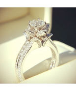 2.75Ct Simulated Diamond 14K White Gold Finish Lotus Flower Engagement Ring - $70.00