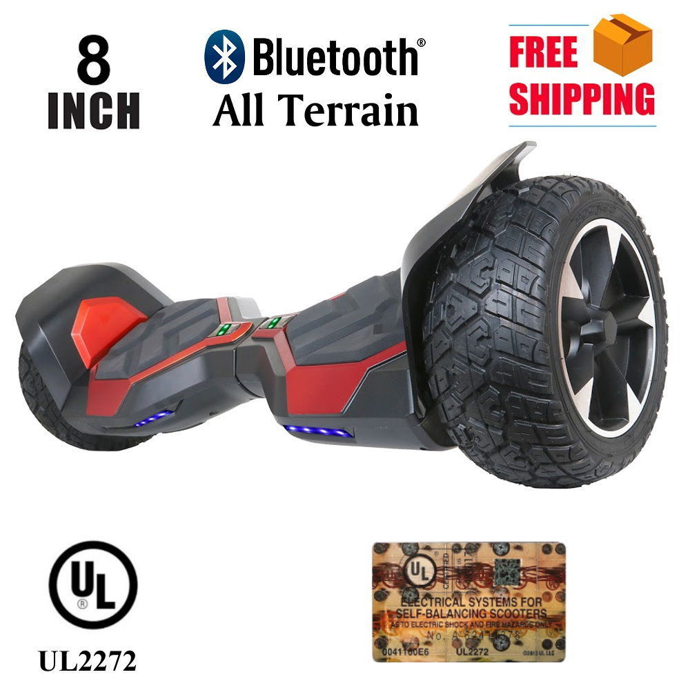 "Red All Terrain 8.5"" Red Bluetooth Off Road Hoverboard High Speed Scooter"