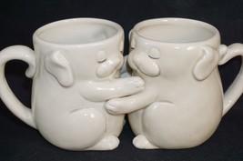 (2) FITZ & FLOYD HUGGING MUGS PUPPY LOVE JAPAN F & F FF 1977 - $24.18