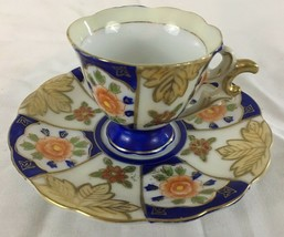 Decorative Floral Pattern Blue & Green Tea Cup and Saucer Made in Occupi... - $14.99