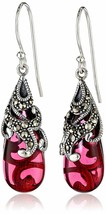 New Amazon Collection Sterling Silver 925 Marcasite Red Glass Teardrop Earrings