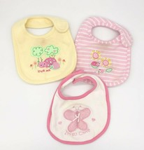 Lot of 3 Carter's / Bon Bebe Baby / Infant Cloth Bibs Pink & Yellow CUTE - $2.97
