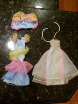 Vtg Happy Birthday Barbie Doll #1922 Gown & Rainbow Pastel Ruffle Dress ... - $46.93