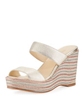 Jimmy Choo Parker Metallic Wedge Platform Sandals MSRP: $525.00 Size 40.5 - $346.50