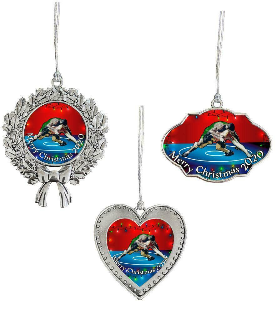 Wrestling Greco-Roman Merry Christmas 2020 Silver Ornament Frame Heart or Wreath - $14.24