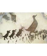 Silhouette Ducks on Stone Geode Slice Hand Painted Folk Art Wall Hanging... - $19.75