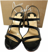 Christian Louboutin Vavazou Slingback Sandals Shoes Black Pumps 35.5 - $499.97