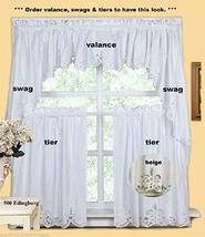 Kitchen Curtain Valance Tier Swag Beige White This 100% Cotton TkLinen (... - $53.46