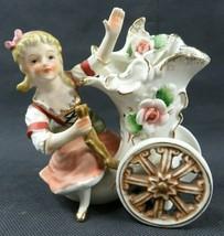 Vintage Japan porcelain Cornucopia Girl n Roses figurine - $20.00
