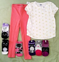 Girls Old Navy Set White Gold Butterfly Top & Coral Pants Leggings & 6 Socks 5T - $16.60