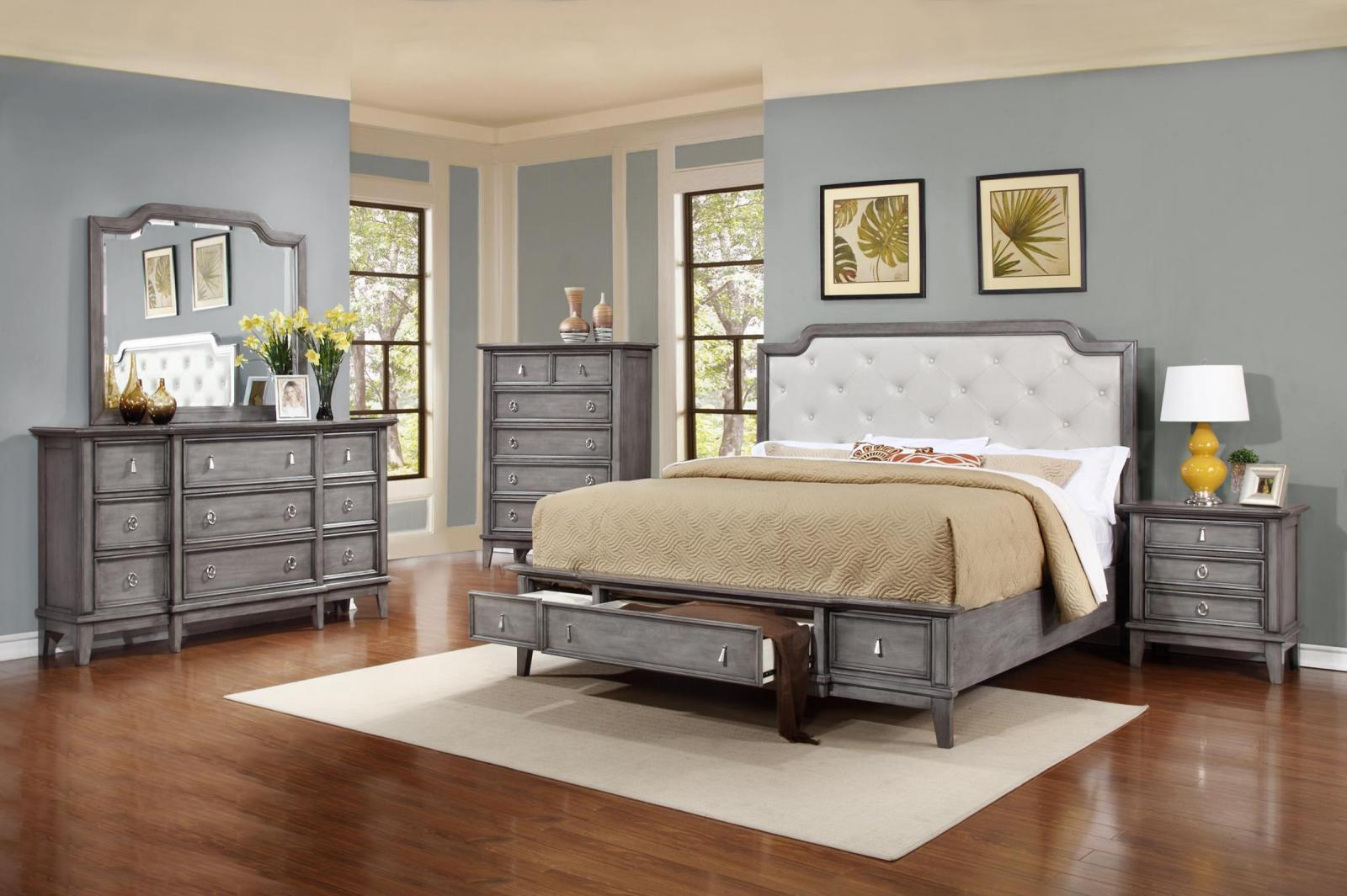 Soflex emmalee grey button tufted king storage bedroom set for Gray bedroom furniture sets
