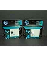 2 HP Hewlett Packard Genuine Ink 61 Tri Color Cyan Magenta Yellow 8-10/2... - $36.62