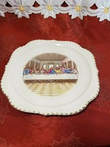 VINTAGE THE FIRST SUPPER PORCELAIN DECORATOR PLATE -RARE- GOLD TRIM