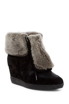 WOMENS ASH Brandy Genuine Lamb Fur Trimmed Black Wedge Lace Sneaker 37 E... - $126.85