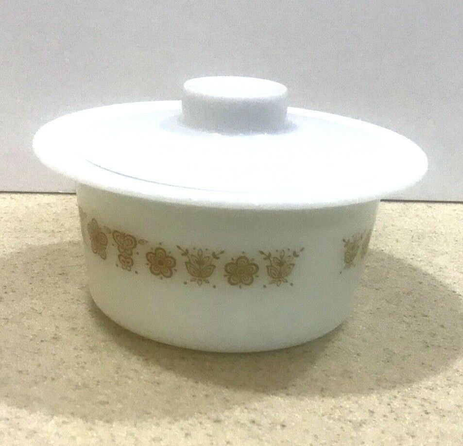Vintage Pyrex/Corning Ware Butter Tub/Bowl & Cover Butterfly Gold #75 image 3
