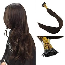 Full Shine Brown I Tip Real Hair Extensions 22 Inch Remy Human Hair Fusion Exten