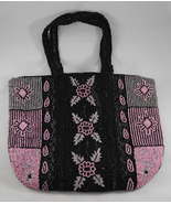Vintage Beaded Black Pink White Handbag Purse  - $49.95