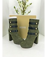 New Michael Kors Suede Platform Ankle Boot Maise Olive Green Size 9M $2... - $88.19