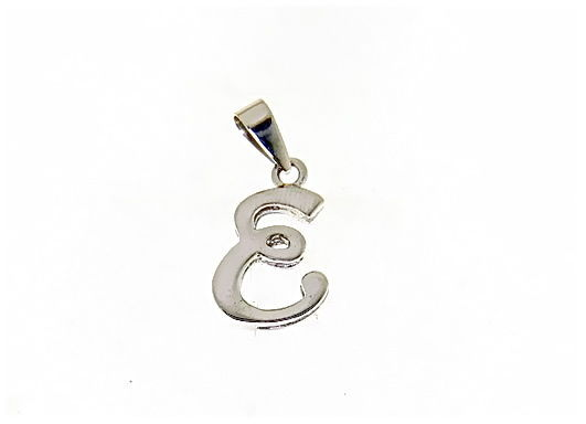 18K WHITE GOLD LUSTER PENDANT WITH INITIAL E LETTER E MADE IN ITALY 0.71 INCHES