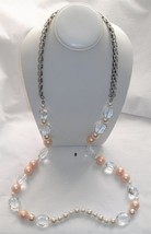 Ann Taylor Loft Single Strand Long Necklace Silver-tone with Beads and More - $13.85