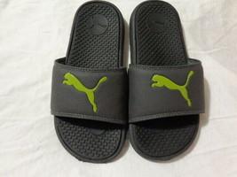 Child Kids Size 2 PUMA Black Green Slides Sandals - $9.70