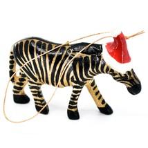 Hand Carved & Painted Jacaranda Wood Santa Hat Zebra Safari Christmas Ornament