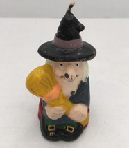 vintage old lady witch with broom Halloween  wax candle - $9.89