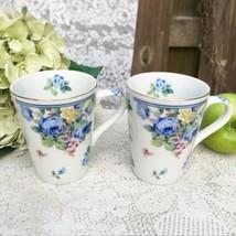 2 Otagiri Blue Floral coffee Mug, Tea cup, Rose Flowers, Yellow Green Ceramic - $9.50