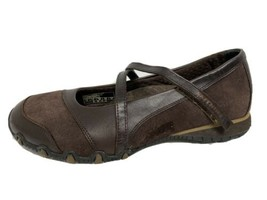 Skechers women's Mary Jane brown ballerina shoes leather textile upper size 8 - $22.01