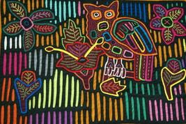 Kuna Geometric Art Mola Handstitched Applique Intricate Detail Owl Flowe... - $47.49