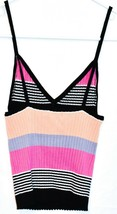 Kendall & Kylie Women's Pink Black Striped Ribbed Knit V-Neck Tank Top Size XS image 2