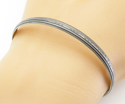 925 Sterling Silver - Vintage Dark Tone X Patterned Bangle Bracelet - B6048 - $29.27