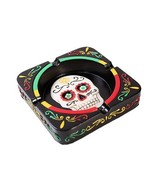 Day of The Dead Black Sugar Skull Ashtray Resin Figurine Dias De Los Mue... - $19.79
