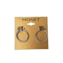 """Monet Double Hoop Earrings Silvertone 1"""" Msrp $32.00 New   - $9.99"""