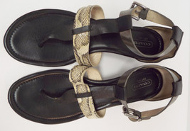 COACH Size 9.5 VELVET Ankle Strap Snake Print Sandals Shoes 9 1/2 - $39.00