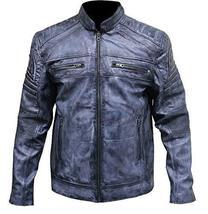 Mens Cafe Racer Biker Distressed Blue Motorcycle Leather Jacket image 1