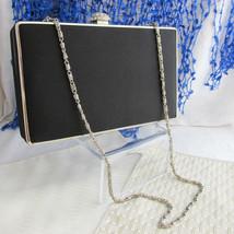 Vintage Black Clutch Evening Bag Box Style Rhinestone Clasp Silvertone C... - $18.00