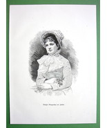 QUEEN MARGHERITA of Savoy Italy Lovely Lady - VICTORIAN Era Print - $9.79