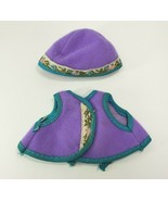 VINTAGE BARBIE CLOTHING SKIPPER PURPLE VEST & HAT W/ FLOWERS - $13.33