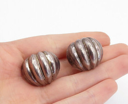 925 Sterling Silver - Vintage Hollow Fluted Dome Non Pierce Earrings - E... - $34.38
