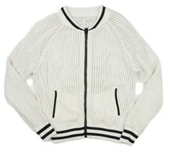 Forever 21 Womens Ivory Black Crochet Knit Full Zip Sweater Jacket Size ... - $18.80