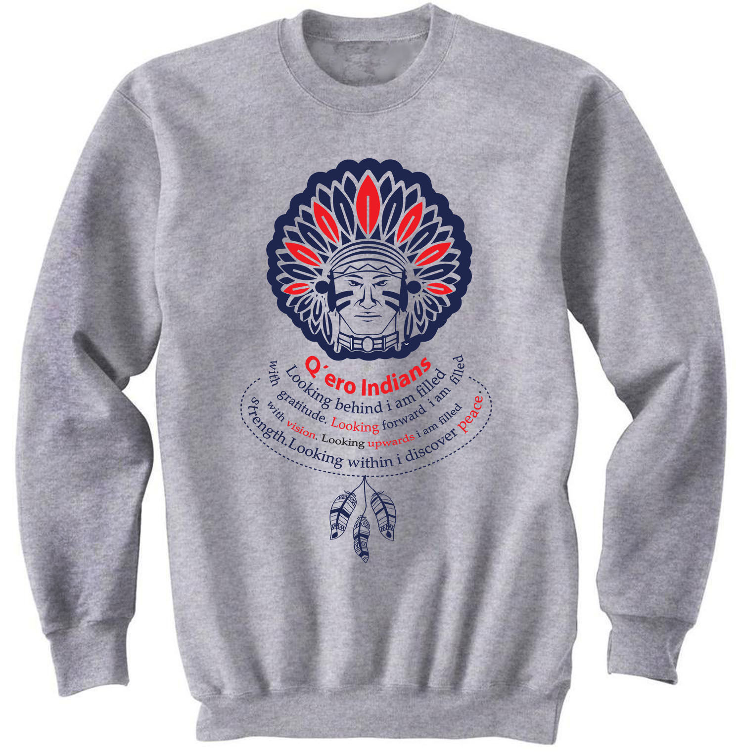 AMERICAN NATIVE WISDOM LOOKING BEHIND - COTTON GREY SWEATSHIRT- ALL SIZES