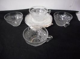Sandwich Glass Duncan Miller 4 Cup & Saucer Sets - $15.00