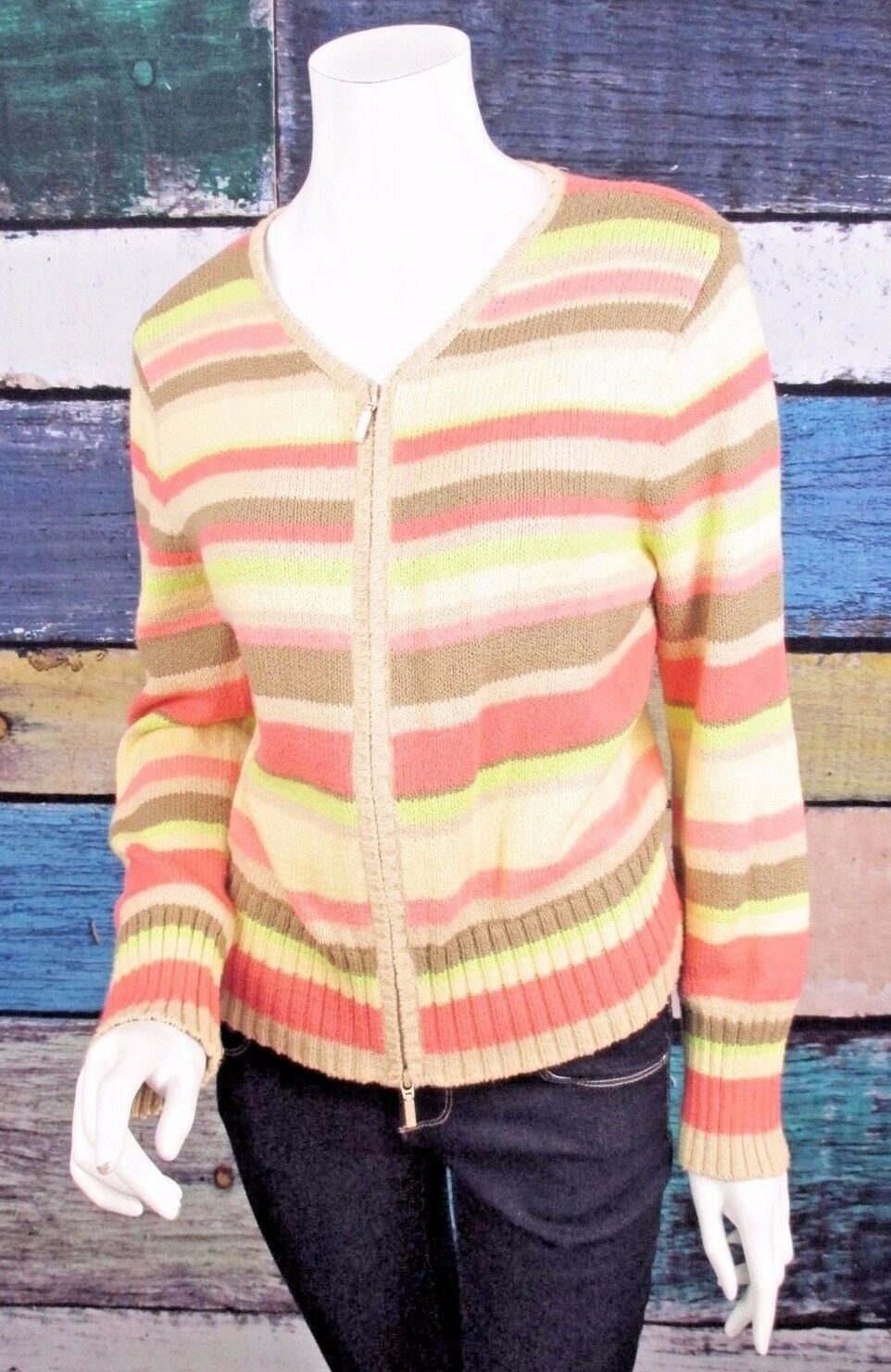 Primary image for Talbots Petites Medium PM Pink Green Beige Striped Full Zip Cardigan Sweater