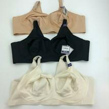 CATHERINES No Wire Back Smoother Bra 52 DD LOT OF 3 White & Black & Beig... - $48.33